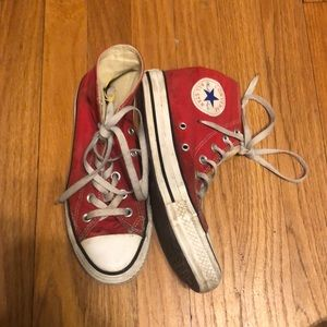 Red and white converse high top sneakers. Womens 7